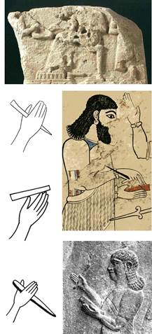 Representations of styli for cuneiform script on clay tablets. Detail from the limestone stela VA 7245, possibly dating to the Ur III period, from the mural painting of Til Barsip, ascribed to Šalmaneser V (modern copy), and from Neo-Assyrian reliefs.