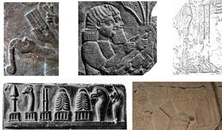 : Depictions of scribes writing cuneiform on waxed boards, found in Neo-Assyrian reliefs. When the scribes face left, the 'inner' side of the stylus is visible, showing a groove; otherwise the 'outer' side is displayed, showing a horizontal band in the middle. The right-angled shape of the writing tip leaves no doubt that these styli were meant for the cuneiform script. The 'grooved' stylus as symbol of Nabu, appearing on kudurrus, stelae, and seals.