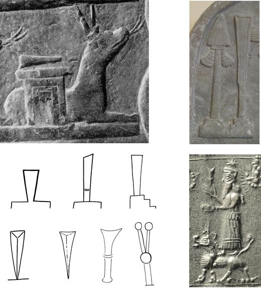 The cuneiform stylus as a symbol of Nabu, as depicted on kudurrus, stelae and seals from all over the Ancient Near East. Note the conceptual progression from stylus as writing tool to stylus as idealized wedge.